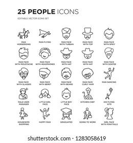 Set of 25 People linear icons such as Man Horseriding, Flying, face with turban and beard, top hat, vector illustration of trendy icon pack. Line icons with thin line stroke.