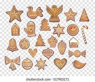 Set of 25 realistic gingerbread christmas cookies. Vector illustration.