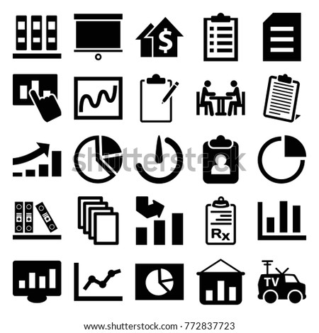 Set 25 Report Filled Icons Such Stock Vector Royalty Free