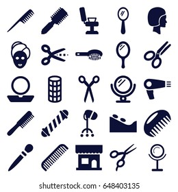 set of 25 salon filled icons such as comb, barber scissors, mirror, hair dryer, hair brush, beauty salon, barber chair, hair curler, powder, spa stone