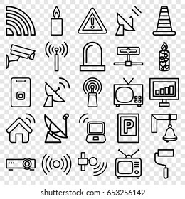 Set of 25 signal outline icons such as parking, cone barrier, roller, warning