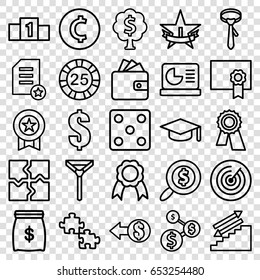 Set of 25 success outline icons such as 25 casino chip, dice, wallet, tie