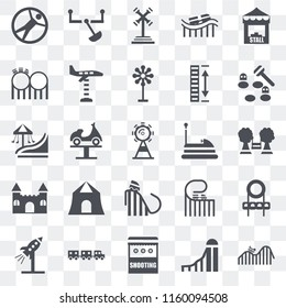 Set Of 25 transparent icons such as DUNK, Slide, Shooting, Sports ball, Rocket, Whack a mole, Bumper car, Ride, Castle, Childhood, web UI transparency icon pack