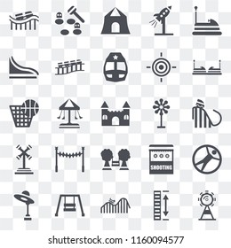 Set Of 25 transparent icons such as Ferris wheel, Height, DUNK, Hook, Amusement park, Childhood, Playground, Ride, Slide, Shooting, Whack a mole, web UI transparency icon pack