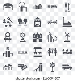 Set Of 25 transparent icons such as Ride, Childhood, Slide, Tickets, Roller coaster, Bumper car, Merry go round, Playground, Whack a mole, DUNK, web UI transparency icon pack