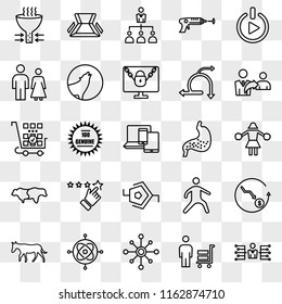 Set Of 25 transparent icons such as delegate, suppliers, multichannel, gyroscope, ass, referrals, gut, synapse, bull bear, family law, delegation, chair, web UI transparency icon pack