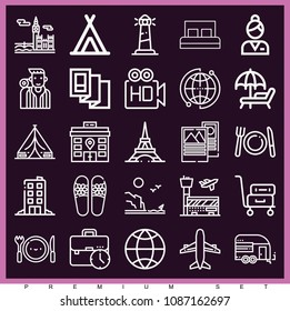Set of 25 travel outline icons such as sunbed, trailer, world, coast, high definition, backpacker, brochure, airplane, briefcase, hotel bed, tent, restaurant, sandals, airport