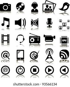 Set from 25 (twenty five) multimedia icons