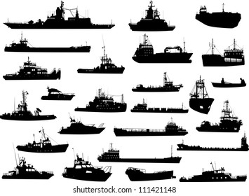 Set of 25 (twenty five) silhouettes of sea yachts, towboat and the ships
