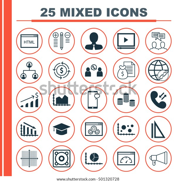 Set 25 Universal Editable Communication Icons Stock Vector