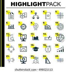 Set Of 25 Universal Editable Icons For Computer Hardware, Statistics And Human Resources Topics. Includes Icons Such As Sequence Graphics, Time Management, Keyword Optimisation And More.