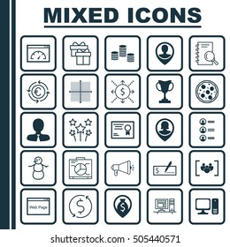 Set Of 25 Universal Editable Icons. Can Be Used For Web, Mobile And App Design. Includes Icons Such As Pin Employee, Tournament, Board And More.