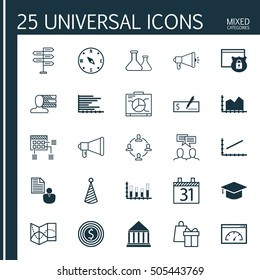 Set Of 25 Universal Editable Icons. Can Be Used For Web, Mobile And App Design. Includes Icons Such As Schedule, Sequence Graphics, Chemical And More.