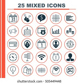 Set Of 25 Universal Editable Icons. Can Be Used For Web, Mobile And App Design. Includes Icons Such As Date, Employee Location, Graphical Grid And More.