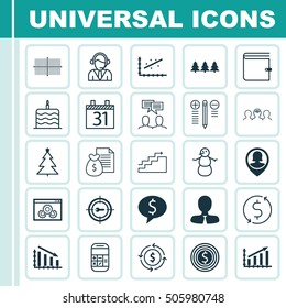 Set Of 25 Universal Editable Icons. Can Be Used For Web, Mobile And App Design. Includes Icons Such As Business Goal, Manager, Coaching And More.