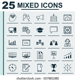 Set Of 25 Universal Editable Icons. Can Be Used For Web, Mobile And App Design. Includes Icons Such As Loading Speed, Female Application, Celebration Cake And More.
