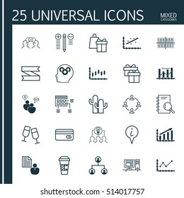 Set Of 25 Universal Editable Icons. Can Be Used For Web, Mobile And App Design. Includes Icons Such As Changes Graph, Cacti, Computer And More.