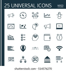 Set Of 25 Universal Editable Icons. Can Be Used For Web, Mobile And App Design. Includes Icons Such As Bars Chart, Schedule, Loading Speed And More.