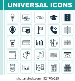 Set Of 25 Universal Editable Icons. Can Be Used For Web, Mobile And App Design. Includes Elements Such As Wallet, Takeaway Coffee, Cosinus Diagram And More.