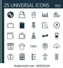 Set Of 25 Universal Editable Icons. Can Be Used For Web, Mobile And App Design. Includes Elements Such As Bush Pot, Television, Moth And More.