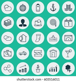 Set Of 25 Universal Editable Icons. Can Be Used For Web, Mobile And App Design. Includes Elements Such As Basin Ladder, Agenda, Dance Club And More.