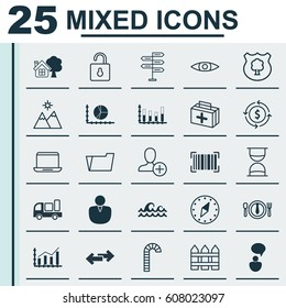 Set Of 25 Universal Editable Icons. Can Be Used For Web, Mobile And App Design. Includes Elements Such As Timber, Document Case, Navigation Arrows And More.