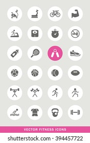Set of 25 Universal Fitness Icons. Isolated Elements.