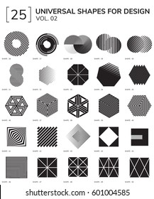 Set 25 Universal Geometric Shapes For Design Black And White Color
