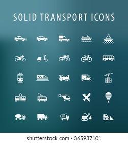 Set of 25 Universal Transport Icons. Isolated Elements.