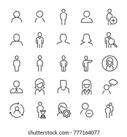Set of 25 user thin line icons. High quality pictograms of person. Modern outline style icons collection. People, avatar, business, human, etc.