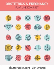 Set of 25 vector flat design icons on gynecology, obstetrics and pregnancy woman healthcare and anatomy. Uterus with ovaries, egg cells, embryo, insemination, fetus, delivery, gender, tests and more