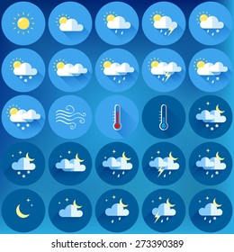 set of 25 vector weather icons. flat design