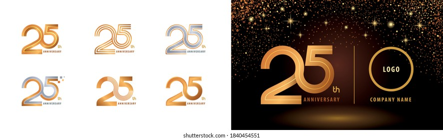 Set of 25th Anniversary logotype design, Twenty five years Celebrate Anniversary Logo multiple line for Congratulation celebration event, invitation card, greeting, Abstract 25 silver and golden logo