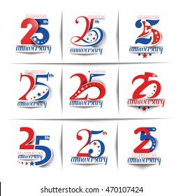 Set of 25th Years Anniversary Celebration Vector Design.