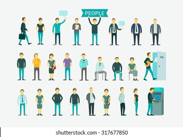 Set with 26 different people flat conception vector illustration ATM, queue turn the door