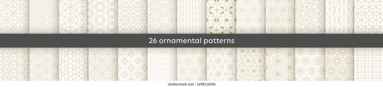 Set of 26 oriental patterns. White and gold background with Arabic ornaments. Patterns, backgrounds and wallpapers for your design. Textile ornament. Vector illustration.