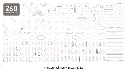 Set of 260 design elements. Wreath, frames, calligraphic, swirls divider, laurel leaves, ornate, award, arrows. Decorative vintage line elements collection. Vector illustration.