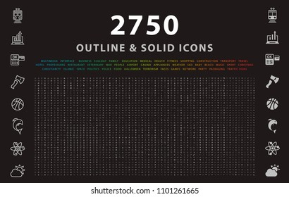 Set von 2750 Outline und Solid Icons auf schwarzem Hintergrund . Vektorisolierte Elemente