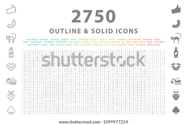 Set of 2750 Outline and Solid Icons on White Background . Vector Isolated Elements
