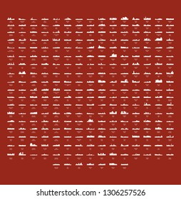 Set of 277 City Silhouette from Asia ( Phnom Penh, Beijing, China, Russia, Turkey, India, Moscow, Japan, Tokyo, Cairo, Egypt, Indonesia, Jakarta, Jerusalem, Pyongyang, North Korea, Seoul, Malaysia )