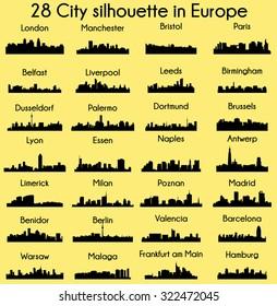 Set of 28 City silhouette in Europe ( London, Berlin, Madrid, Dortmund, Warsaw, Palermo, Liverpool, Brussels, Barcelona, Paris, ... )