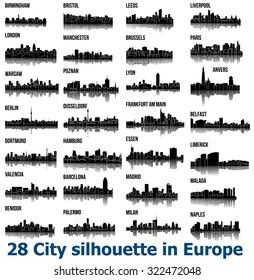 Set of 28 City silhouette in Europe ( London, Berlin, Madrid, Dortmund, Warsaw, Palermo, Liverpool, Brussels, Barcelona, Paris, ... )