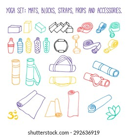 Set of 28 yoga and pilates props elements. Yoga mats, water bottles, straps, blocks, bags, pilates ring and band.