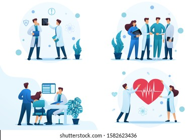 Set 2D Flat concepts about work of doctors and medical personnel. For Concept for web design.