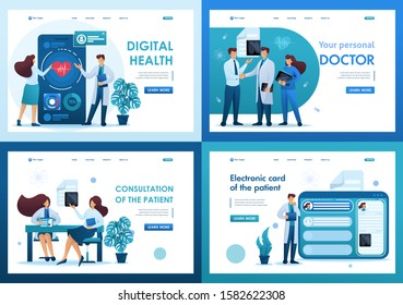 Set 2D Flat concepts digital health, electronic card, consultation patient. For Landing page concepts and web design.