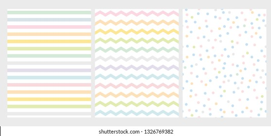 Set of 3 Abstract Multicolor Geometric Vector Pattern. Bright Colorful Chevron and Dots on a White Background. Cute Simple Repeatable Geometric Layouts. Rainbow Color Art with Lines, Zigzag and Dots.