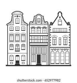 Set of 3 Amsterdam old houses facades. Traditional architecture of Netherlands. Line style black and white vector flat isolated illustrations in the Dutch style. For coloring, design, background.