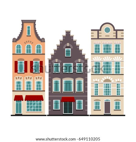 set 3 amsterdam old houses cartoon stock vector royalty free