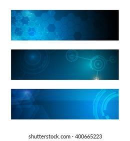 set of 3 banner technology innovation concept design