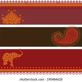 Set of 3 banners in traditional Indian style with space for text